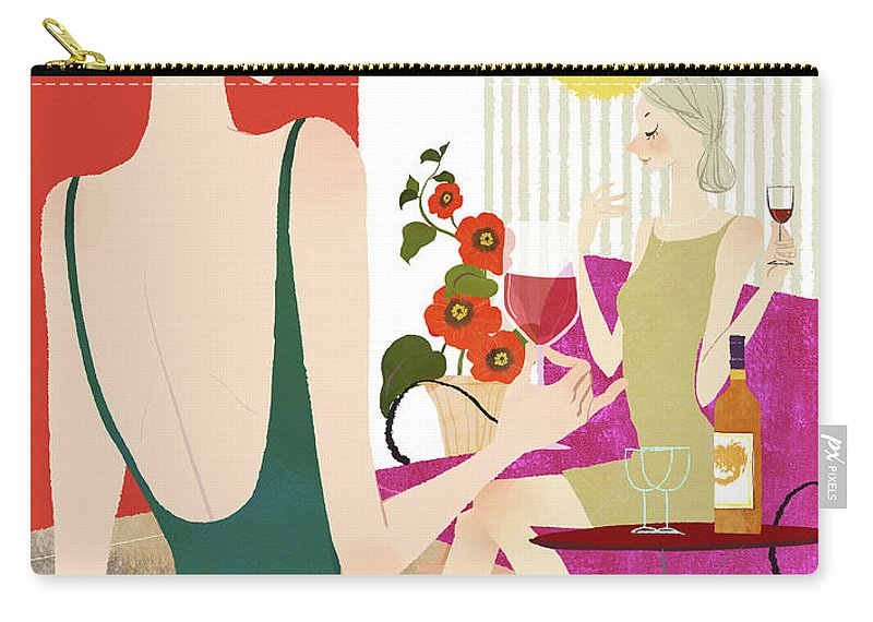 People Carry-all Pouch featuring the digital art Two Woman Drinking Wine by Eastnine Inc.