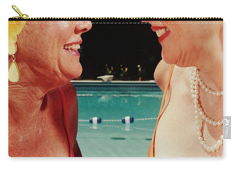 Mature Adult Carry-all Pouch featuring the photograph Two Women By Pool by Silvia Otte