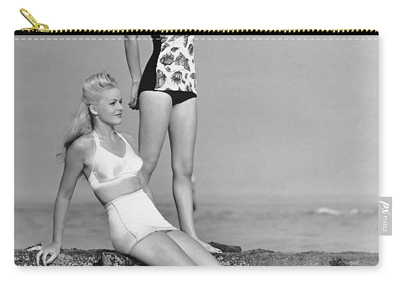 People Carry-all Pouch featuring the photograph Two Women In Bathing Suits by George Marks