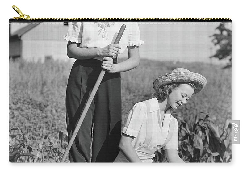 Straw Hat Carry-all Pouch featuring the photograph Two Women Working On Field, B&w by George Marks