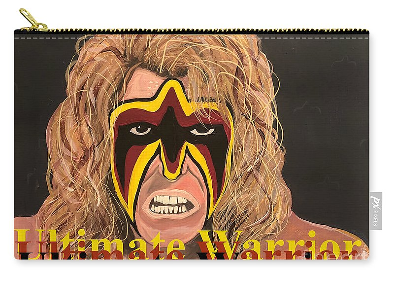 Ultimate Warrior Carry-all Pouch featuring the painting Ultimate Warrior Writing Version by Chris Dippel