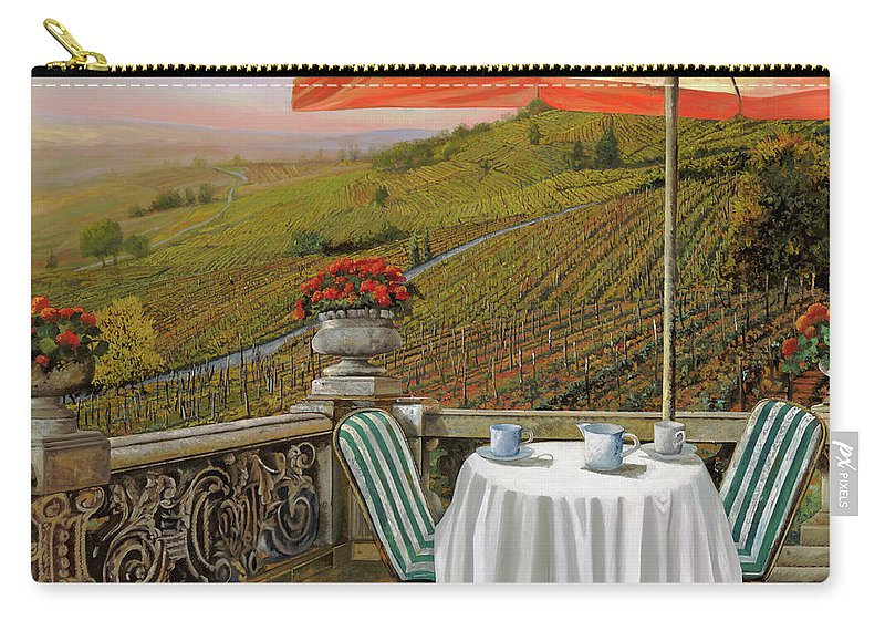 Vineyard Carry-all Pouch featuring the painting Un Caffe' Nelle Vigne by Guido Borelli