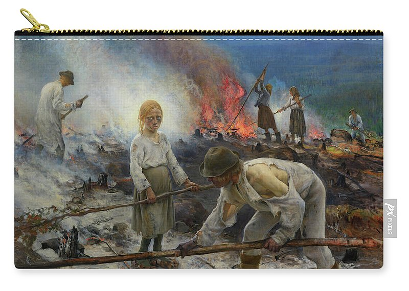 Eero Jarnefelt Carry-all Pouch featuring the painting Under The Yoke, Burning The Brushwood by Eero Jarnefelt