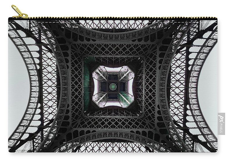 Eiffel Tower Carry-all Pouch featuring the photograph Underneath Of Eiffel Tower, Low Angle by Ed Freeman