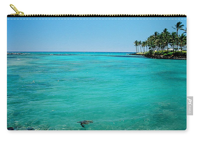 Water's Edge Carry-all Pouch featuring the photograph Underwater Turtle In Maui Hawaii Resort by Ejs9