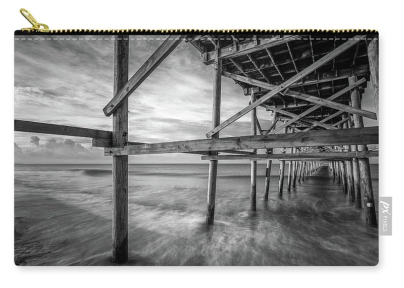 Oak Island Carry-all Pouch featuring the photograph Uner The Pier In Black And White by Nick Noble