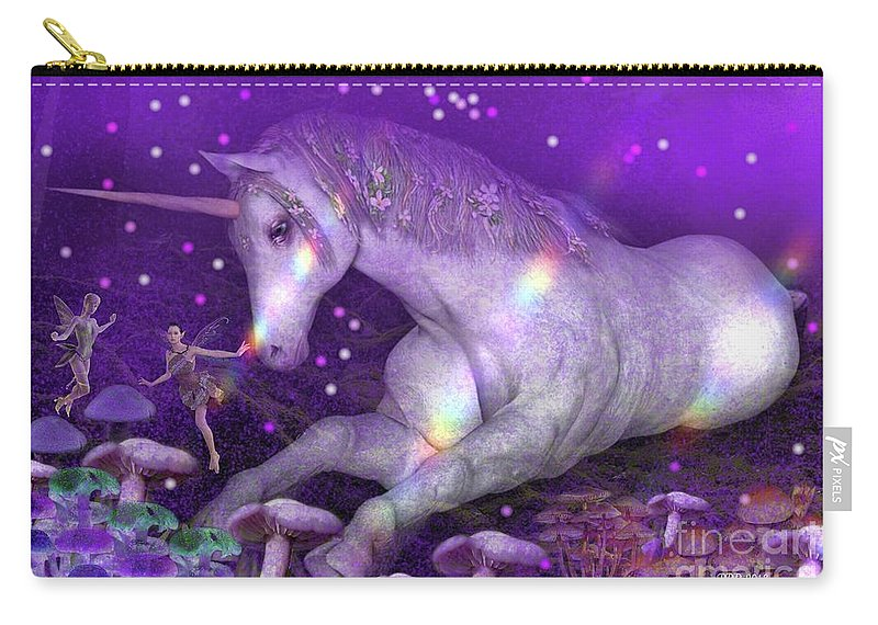 Unicorn Carry-all Pouch featuring the digital art Unicorn Forest by Pamula Reeves-Barker