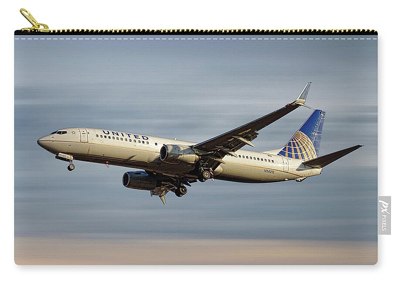 United Airlines Carry-all Pouch featuring the mixed media United Airlines Boeing 737-824 by Smart Aviation