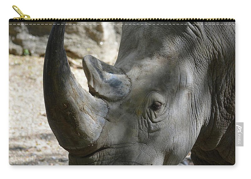 Rhino Carry-all Pouch featuring the photograph Up Close Look At The Face Of A Rhinoceros by DejaVu Designs