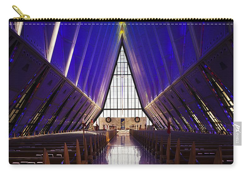 Large Group Of Objects Carry-all Pouch featuring the photograph U.s. Air Force Academy, Cadets Chapel by Walter Bibikow