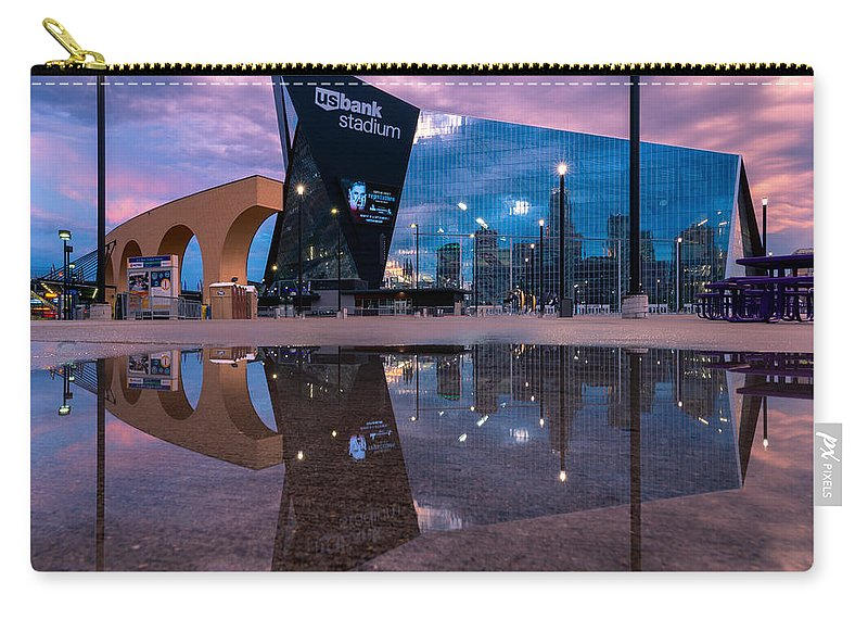 Reflections Carry-all Pouch featuring the pyrography Us Bank Stadium In Minneapolis by Remo Daut