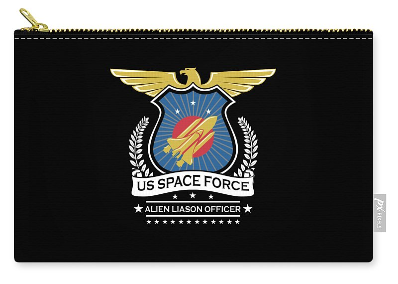 Space-force Carry-all Pouch featuring the digital art Us Space Force Crew Member Art Alien Liason Officer Dark by Nikita Goel