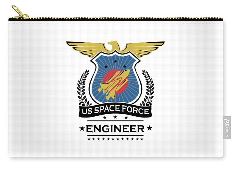 Space-force Carry-all Pouch featuring the digital art Us Space Force Crew Member Art For Spaceship Engineer Light by Nikita Goel