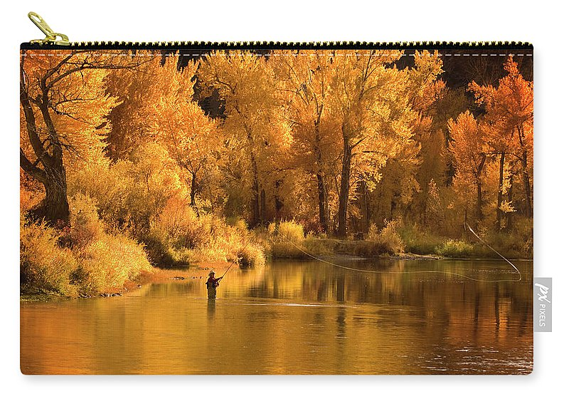 Orange Color Carry-all Pouch featuring the photograph Usa, Idaho, Salmon River, Mature Man by Steve Bly