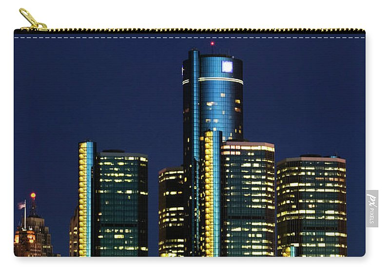 Detroit Carry-all Pouch featuring the photograph Usa, Michigan, Detroit, Skyline & by Walter Bibikow