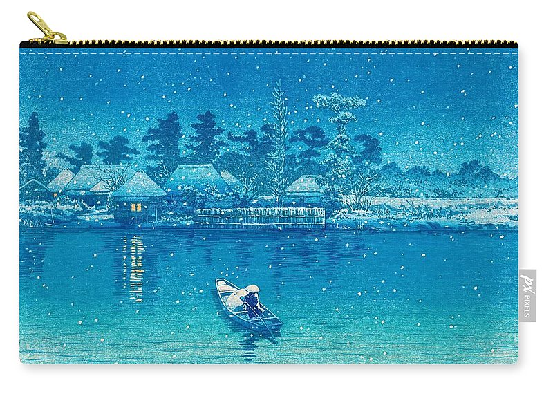 Kawase Hasui Carry-all Pouch featuring the painting USHIBORI - Top Quality Image Edition by Kawase Hasui