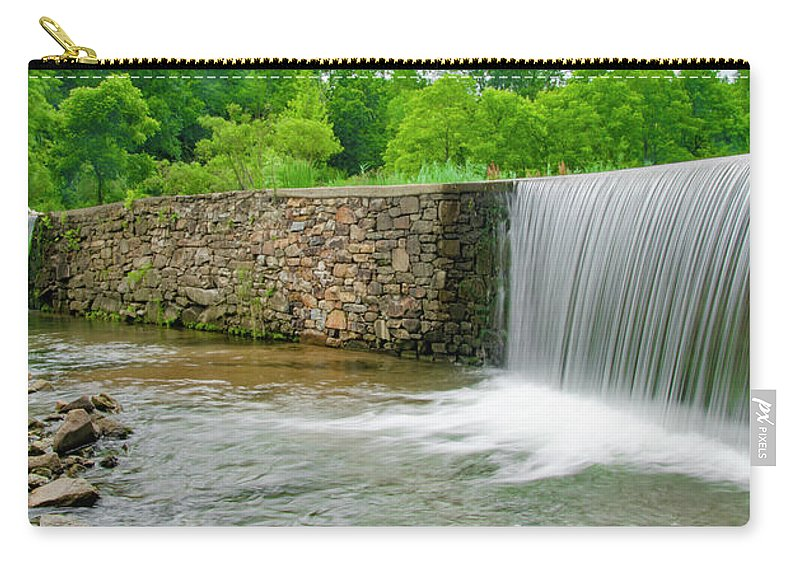 Valley Carry-all Pouch featuring the photograph Valley Creek Waterfall Panorama by Bill Cannon