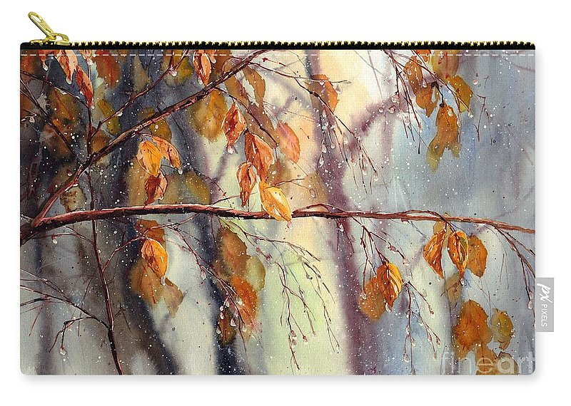 Birch Carry-all Pouch featuring the painting Vanishing by Suzann Sines