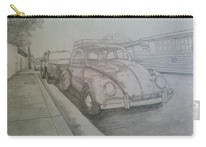 Drawing Of Vw Carry-all Pouch featuring the drawing Vdub by Andrew Johnson