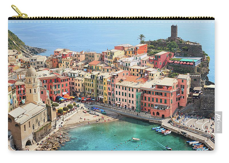 Water's Edge Carry-all Pouch featuring the photograph Vernazza by Borchee