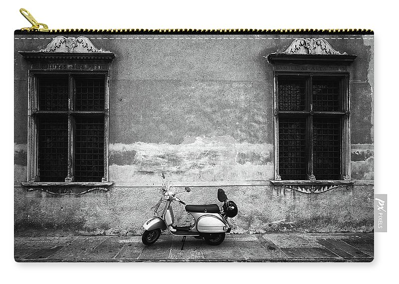 Two Objects Carry-all Pouch featuring the photograph Vespa Piaggio. Black And White by Claudio.arnese