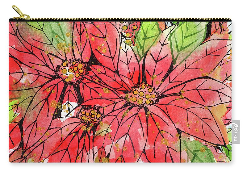 Poinsettia Carry-all Pouch featuring the painting Vibrant Poinsettias II by Krinlox