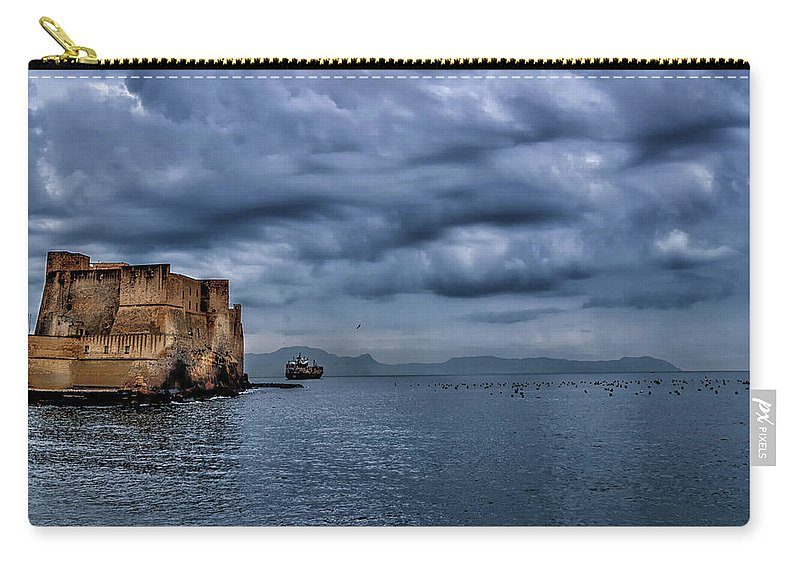 Castle Carry-all Pouch featuring the photograph View Of Castel Dell Ovo by Peter Moderdovsky