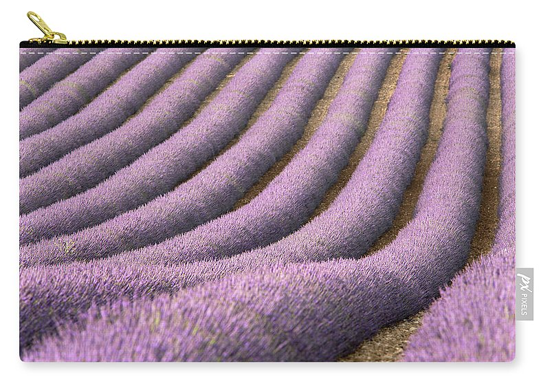 In A Row Carry-all Pouch featuring the photograph View Of Cultivated Lavender Field by Michele Berti