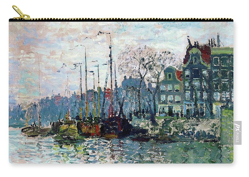 Claude Monet Carry-all Pouch featuring the painting View Of The Prins Hendrikkade And The Kromme Waal In Amsterdam - Digital Remastered Edition by Claude Monet