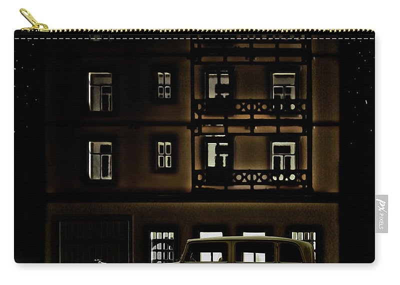 Apartment Carry-all Pouch featuring the photograph Vintage Car Outside Apartment Block At by Michael Duva