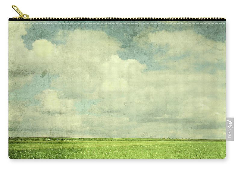 Scenics Carry-all Pouch featuring the photograph Vintage Image Of Green Field And Blue by Jasmina007