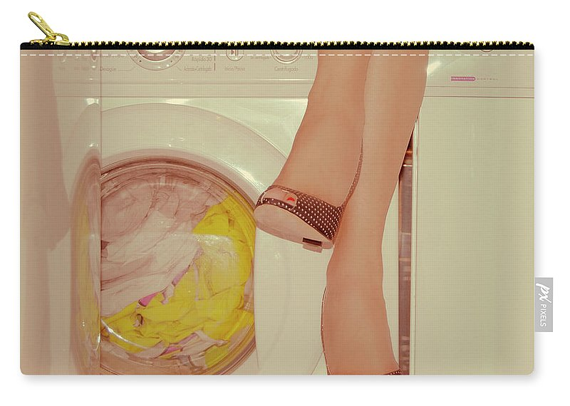 Laundromat Carry-all Pouch featuring the photograph Vintage Laundry by © Angie Ravelo Photography