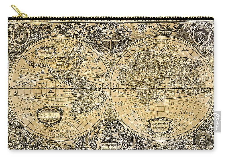 Latitude Carry-all Pouch featuring the digital art Vintage Map Of The World by Comstock