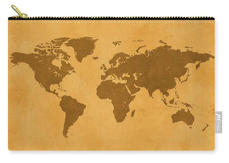 Material Carry-all Pouch featuring the photograph Vintage Map Of The World In Brown by Yorkfoto