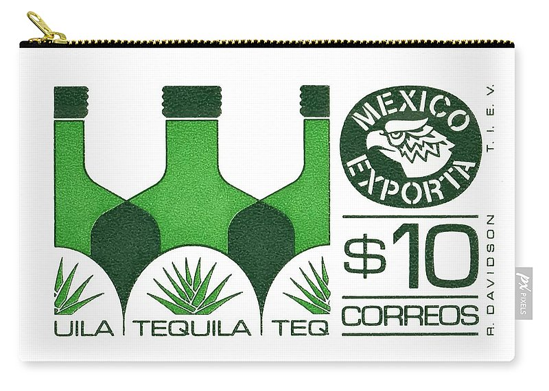 Tequila Carry-all Pouch featuring the digital art Vintage Mexico Tequila Postage Stamp by Retro Graphics