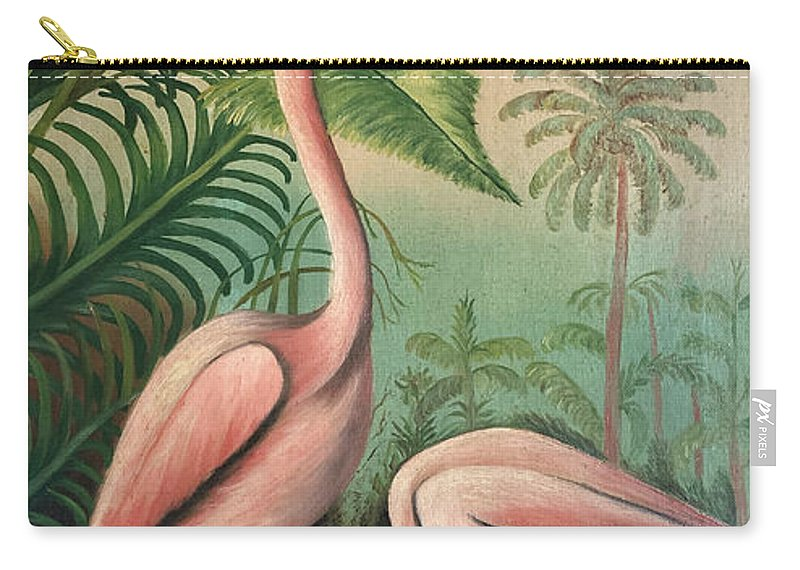 Vintage Carry-all Pouch featuring the painting Vintage Painting Pink Flamingos by Marilyn Hunt