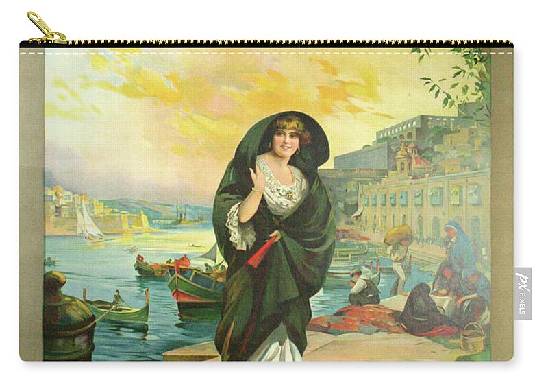Advertisement Carry-all Pouch featuring the painting Vintage Poster - Malta by Vintage Images
