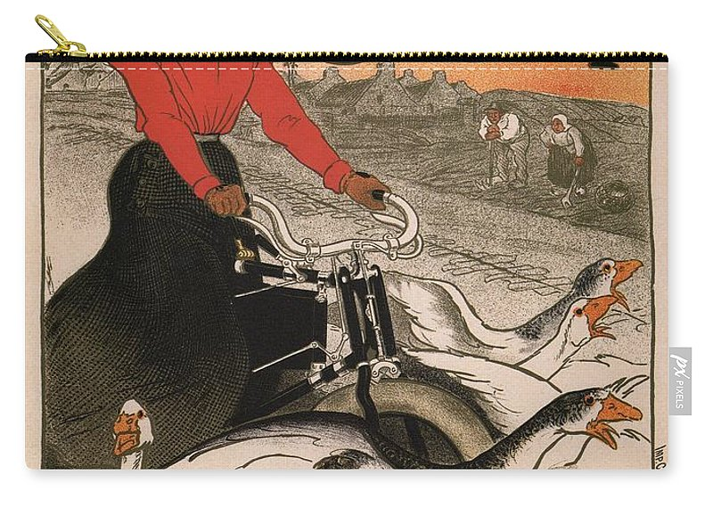 Advertisement Carry-all Pouch featuring the painting Vintage Poster - Motocycles Comiot by Vintage Images