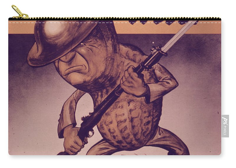 Vintage Poster Carry-all Pouch featuring the painting Vintage Poster - Mr. Peanut Goes To War by Vintage Images