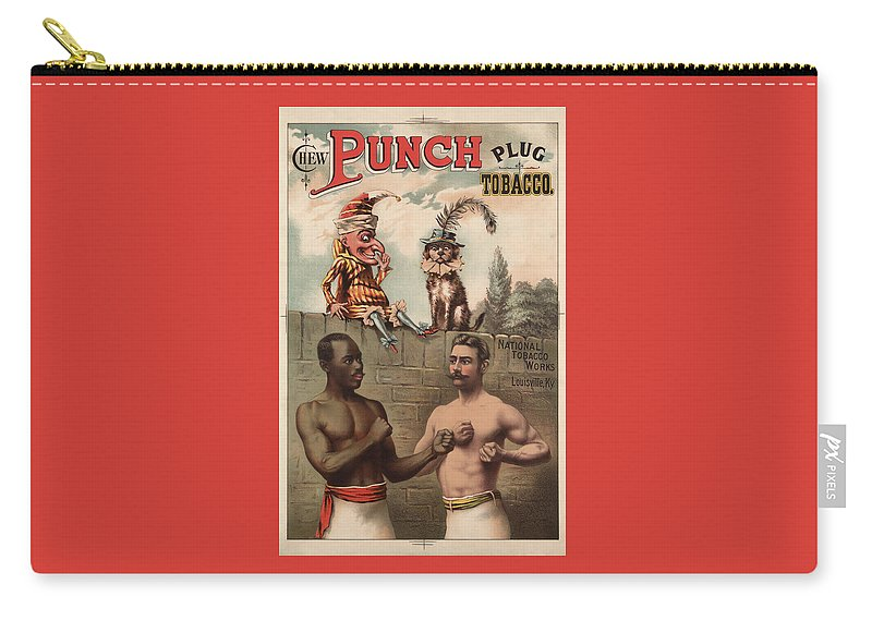 Tobacco Advertisement Carry-all Pouch featuring the mixed media Vintage Punch Chewing Tobacco Ad - 1886 by War Is Hell Store