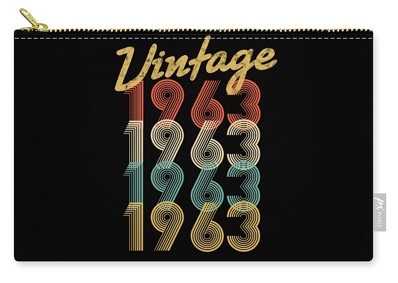 Aged-to-perfection Carry-all Pouch featuring the digital art Vintage Retro Since 1963 Birthday Gift by Carlos Ocon