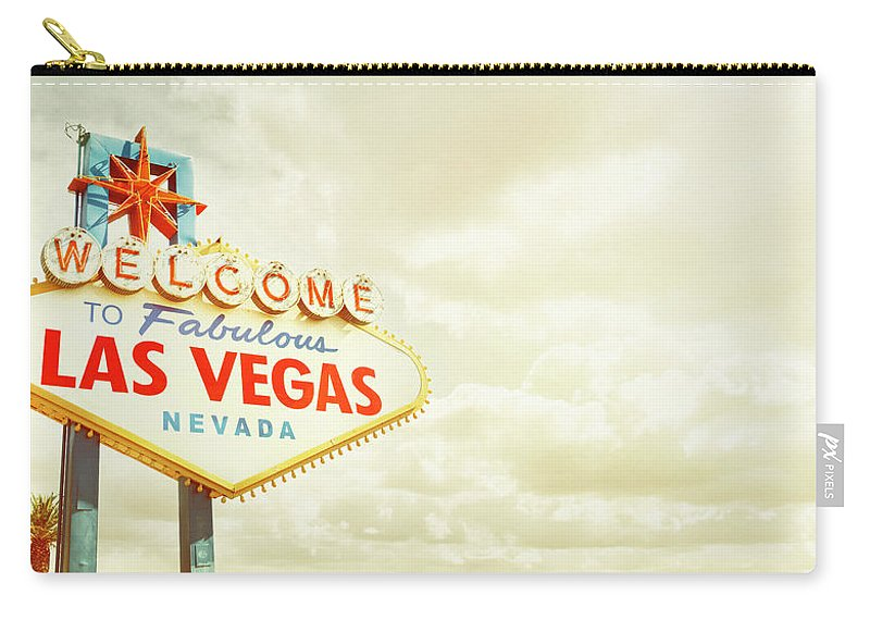 Panoramic Carry-all Pouch featuring the photograph Vintage Welcome To Fabulous Las Vegas by Powerofforever