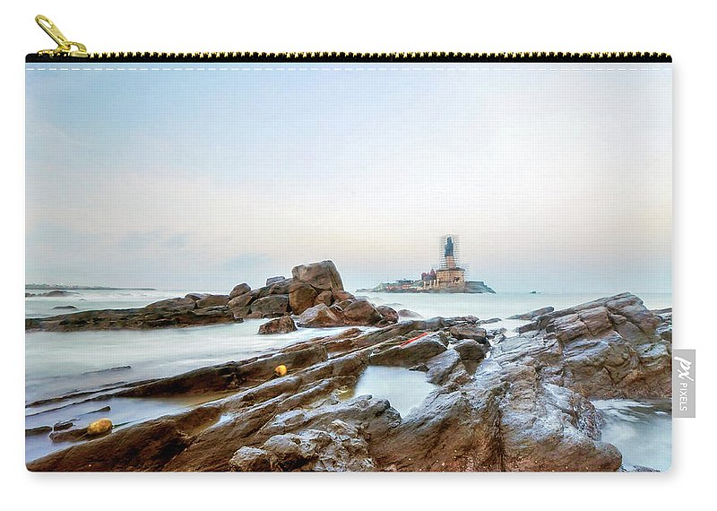 Statue Carry-all Pouch featuring the photograph Vivekanandar Rock & Thiruvalluvar by Yesmk Photography