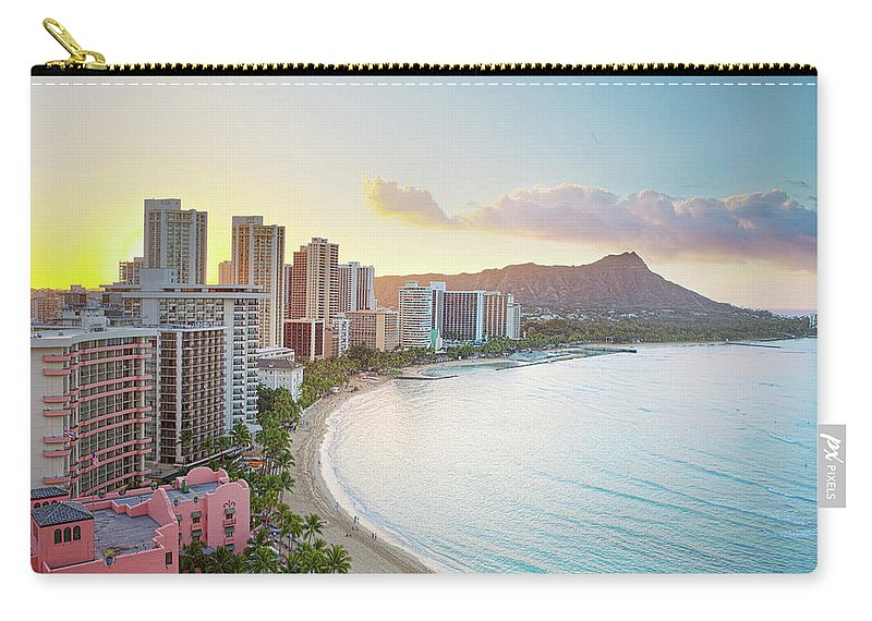 Scenics Carry-all Pouch featuring the photograph Waikiki Beach At Sunrise by M Swiet Productions