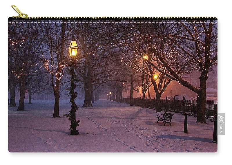Salem Common Carry-all Pouch featuring the digital art Walking The Path On Salem Ma Common by Jeff Folger