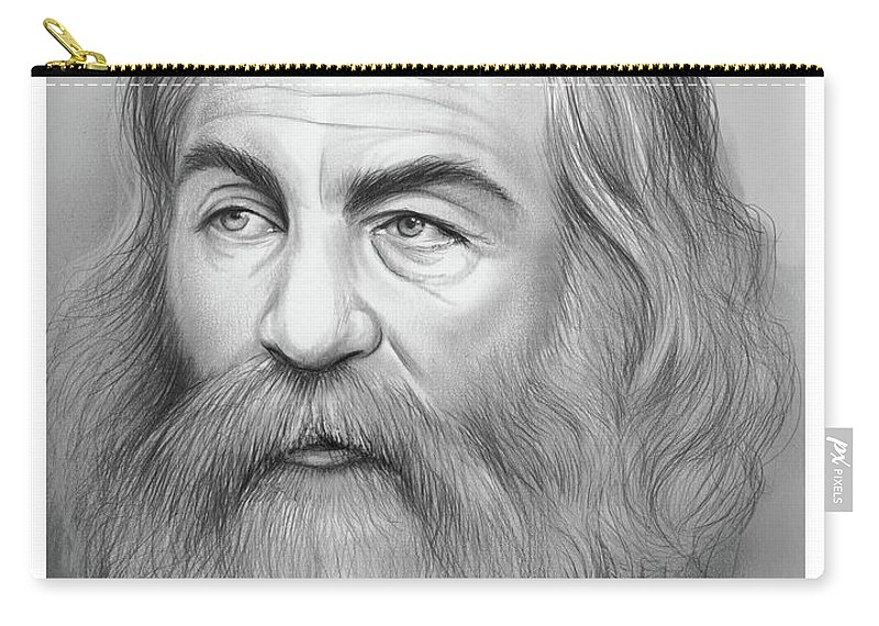 Walt Whitman Carry-all Pouch featuring the drawing Walt Whitman by Greg Joens