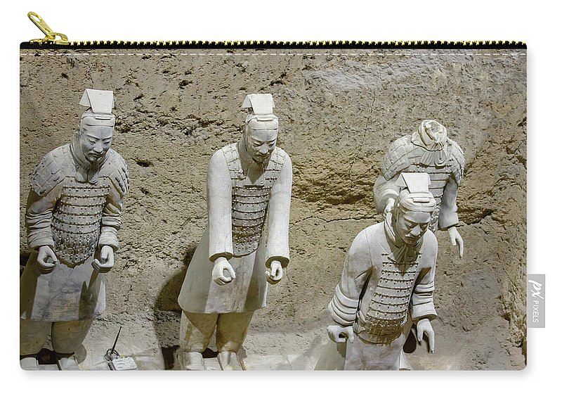 Warrior Carry-all Pouch featuring the photograph Warriors Of Pit 2, Xian, China by Karen Foley
