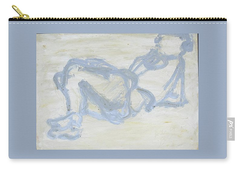 Reclining Female Carry-all Pouch featuring the painting Watching Tv by Bonnie Edmond