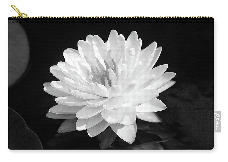 Flower Carry-all Pouch featuring the photograph Water Lily In Black And White by Steve Karol