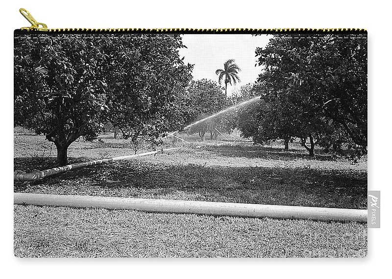Water Flows As Directed Carry-all Pouch featuring the photograph Water Spray Orchard by Venancio Diaz